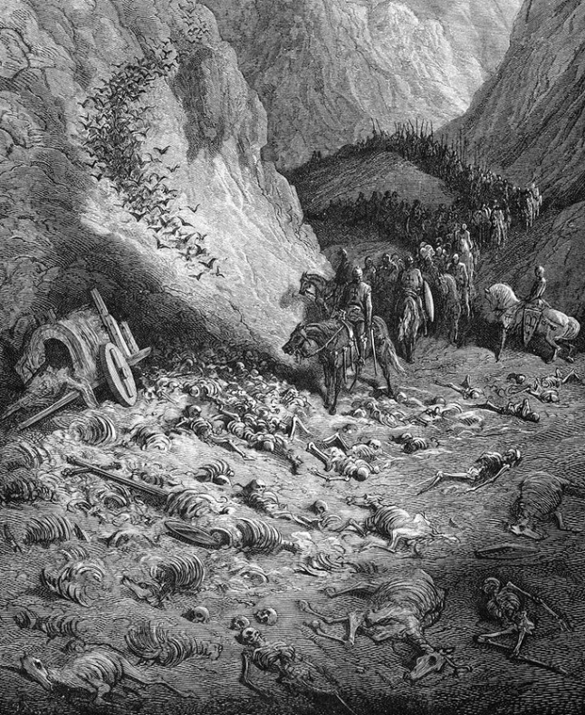 "Religious wars aren't pretty. ""The Second Crusaders Encounter the Remains of the First Crusaders"", by Gustav Dore (wikipaintings.org)"